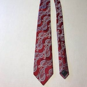 Michael Kors 100% Silk Red Abstract Tie